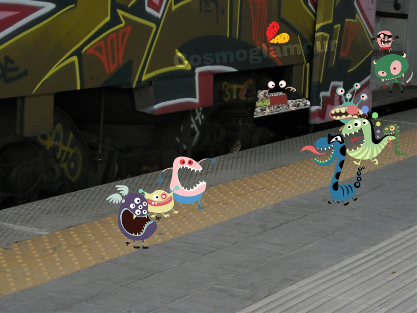 Monsters go to city... At train station xD