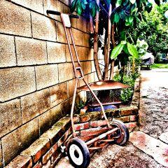 photography lawnmower yard work grass grunge rust