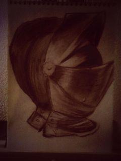 charcoal creta chalk pencil art drawing helmet