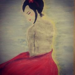 geisha asian art paint