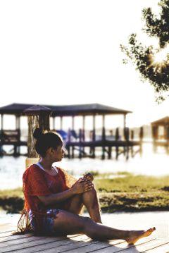 self portrait nikon sunset lake photography